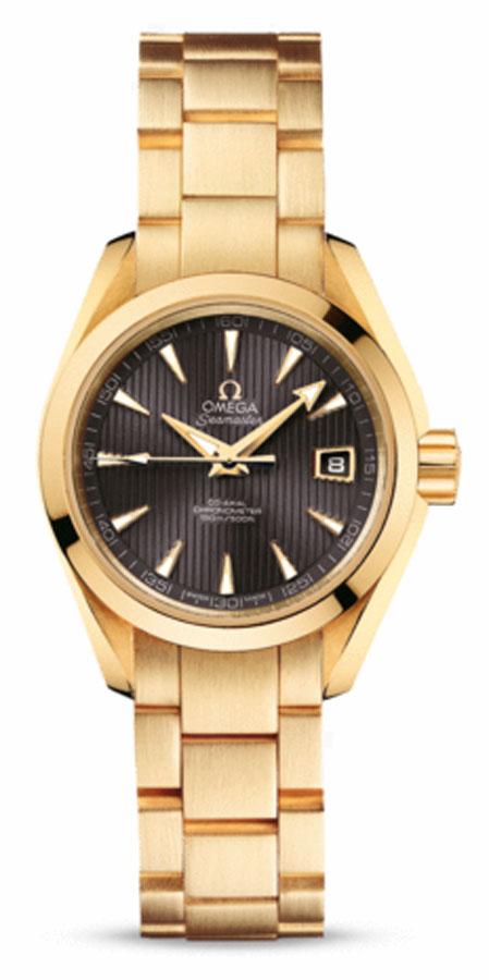Это Brand New Omega часы от Aqua Terra диапазоне 150 Дамы поставляется с Тек-серый циферблат, розовое золото случае