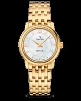 Omega De Ville  Quartz Women's Watch, 18K Yellow Gold, White Mother Of Pearl Dial, 424.50.27.60.05.001