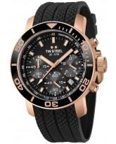TW Steel Grandeur Diver  Chronograph Quartz Men's Watch, Rose Gold Plated, Black Dial, TW702