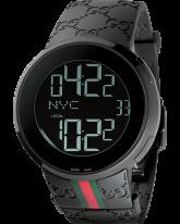 Gucci i-Gucci  Chronograph LCD Display Quartz Men's Watch, PVD, Black Dial, YA114207