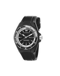 Technomarine   Quartz Men's Watch, Rubber & Stainless Steel, Black Dial, 110012