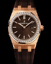 Audemars Piguet Royal Oak  Quartz Women's Watch, 18K Rose Gold, Brown Dial, 67651OR.ZZ.D080CA.01