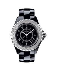 Chanel J12 Jewelry  Quartz Women's Watch, Ceramic, Black & Diamonds Dial, H0949