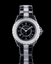 Chanel J12 Jewelry  Quartz Women's Watch, Ceramic, Black & Diamonds Dial, H1338