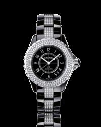 Chanel J12 Jewelry  Automatic Women's Watch, Ceramic, Black & Diamonds Dial, H1339