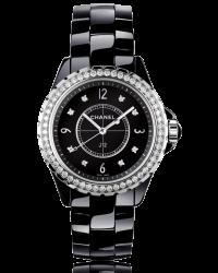 Chanel J12 Jewelry  Quartz Women's Watch, Ceramic, Black & Diamonds Dial, H3108