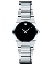 Movado Fiero  Quartz Women's Watch, Stainless Steel, Black Dial, 605620