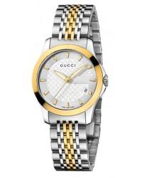 Gucci G-Timeless  Quartz Women's Watch, Gold Plated, Silver Dial, YA126511