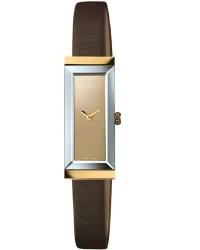 Gucci G-Frame  Quartz Women's Watch, 18K Yellow Gold, Brown Dial, YA127507