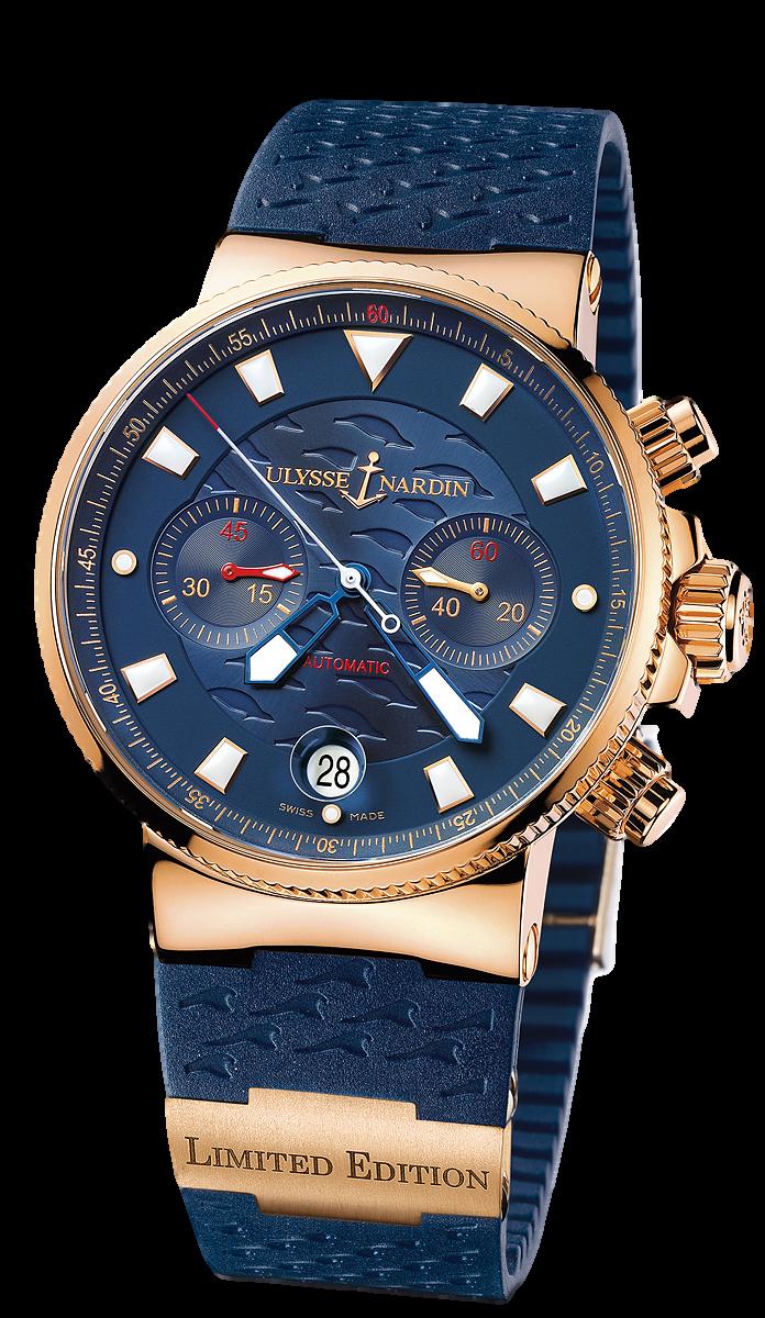 ulysse nardin marine chronometer 356 68le 3 men 39 s 18k rose gold watch blue seal. Black Bedroom Furniture Sets. Home Design Ideas